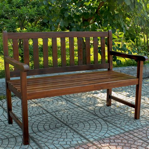 small outdoor bench with back shop international caravan 24 5 in w x 48 25 in l acaia