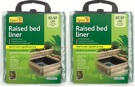 2 x raised wooden timber flower bed liners sheet garden