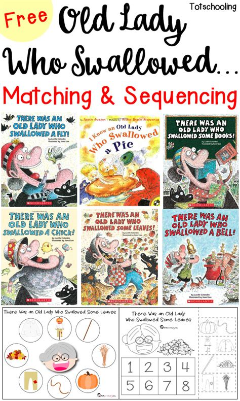 picture books to teach sequencing who swallowed matching sequencing printables