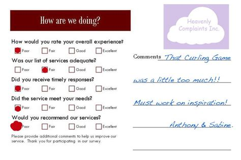 Question Card Template by Restaurant Comment Card Questions Work