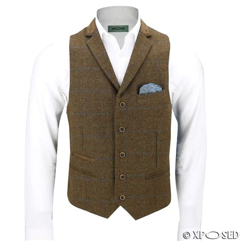 Set Check Blazer Vest Check mens wool mix herringbone tweed check vintage collar