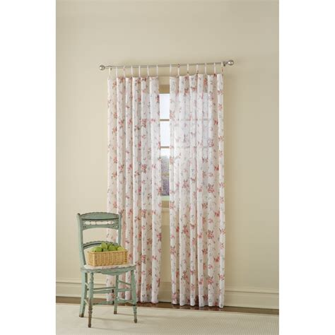 floral sheer curtain panels country living ivory and antique rose sweetbriar floral