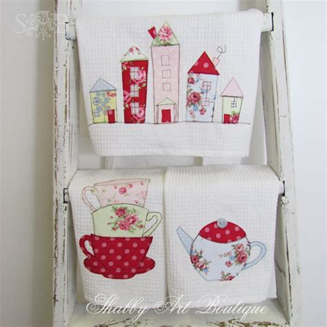 Handmade Tea Towels - hangers houses and house on
