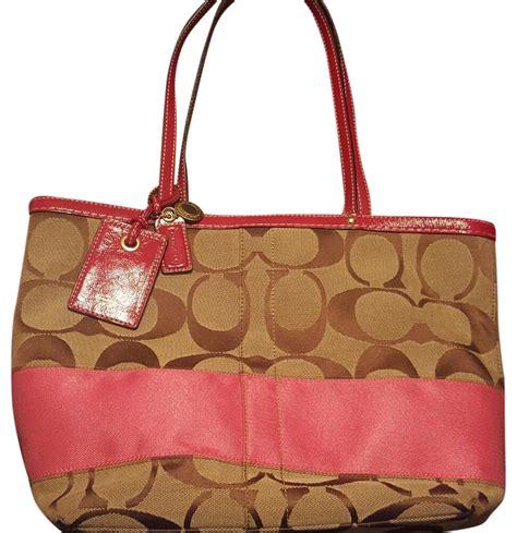 Coach Signature Pink Large coach signature large pattern stripe pink tote bag tradesy