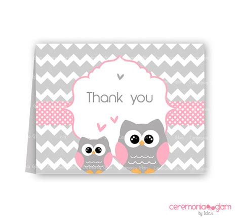 Printable Owl Thank You Cards | baby shower thank you cards owl pink and grey chevron