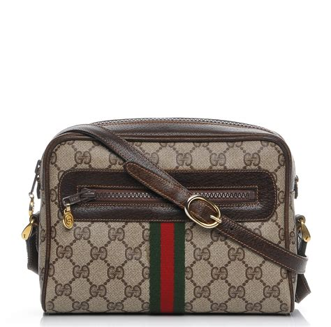 Gucci Web Small Brown gucci vintage coated canvas monogram web small shoulder