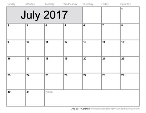 july calendar template free july 2017 calendar printable template with holidays
