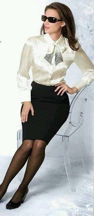 white satin blouse black pencil skirt and high
