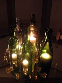 centerpieces using wine bottles think it looks pretty and will work perfectly for