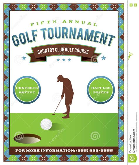Golf Cart Tournament Cards Template by Golf Tournament Flyer Invitation Illustration Vector