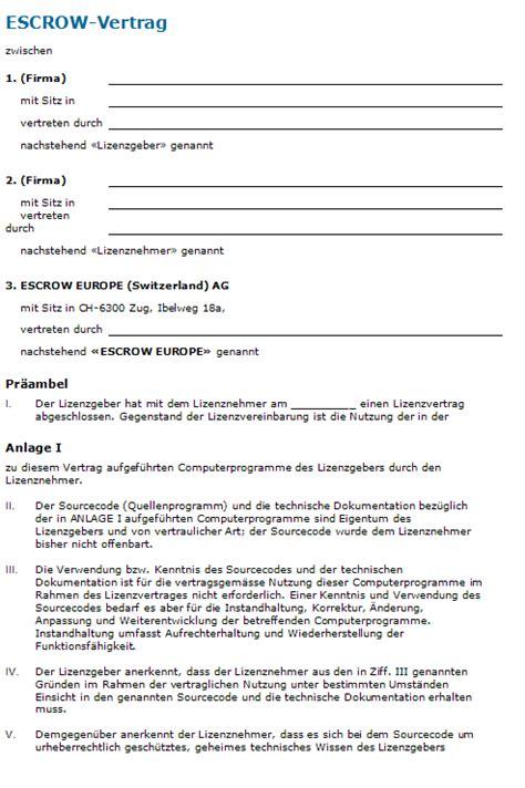 Muster Lizenzvertrag Schweiz Escrow Vertrag Rechtssichere Vorlage Zum