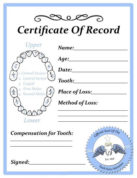 free printable tooth certificate template tooth certificate tooth