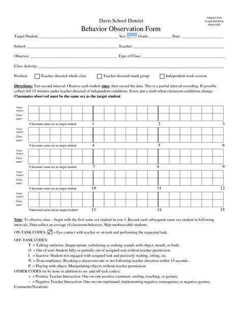8 Best Images Of Behavior Recording Chart For Observation Printable Behavior Observation Forms Student Observation Template