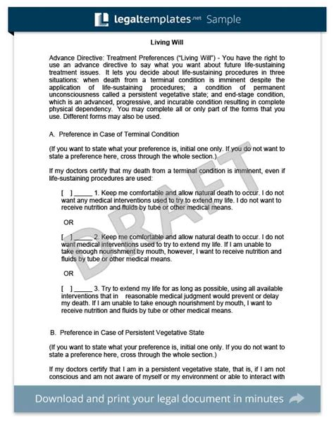 free will document template living will create a free living will form templates