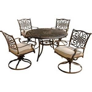 Patio Dining Sets With Swivel Chairs Traditions 5 Outdoor Dining Set With Swivel Rockers