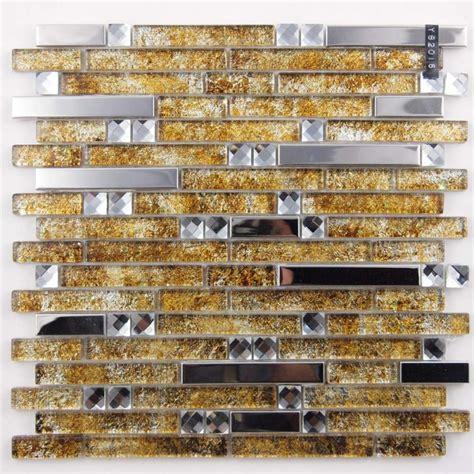 metallic mosaic tile backsplash metal and glass silver stainless steel backsplash