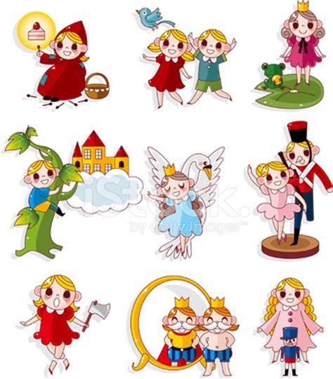cartoon fairy tale story people icons set stock photos