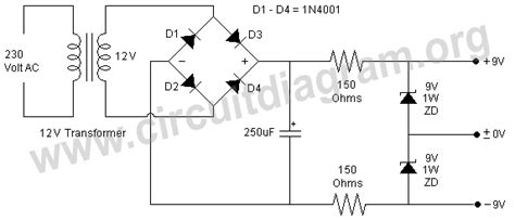 power rating zener diode dual 9v zener diode power supply circuit diagram