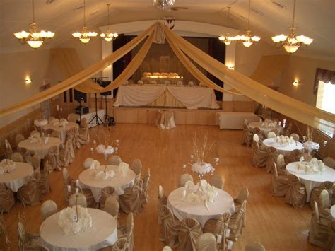 Banquet Hall decorated for a wedding reception gallery view