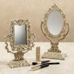 Decorative Vanity Mirror by Lovely Vintage Silver Vanity Mirror With Artwork Carving