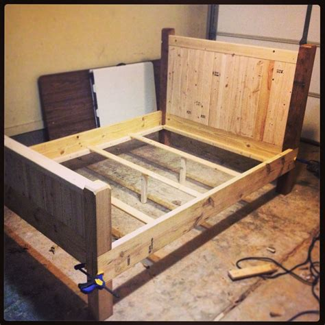 diy full size bed frame  finished   xs