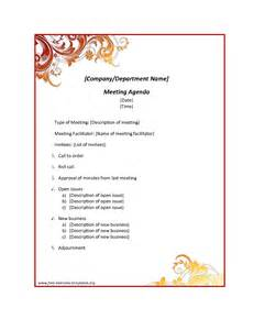 Sle Of Agenda Template by Department Meeting Minutes Template Bestsellerbookdb