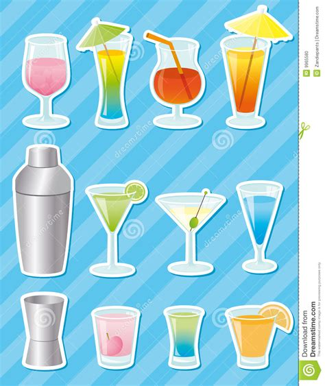 cocktail shaker vector cocktail stickers vector stock photo image 9965580