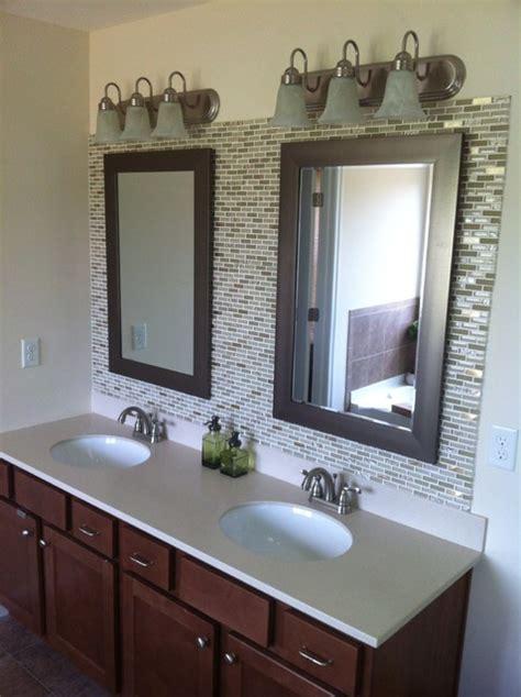 Glass tile backsplash in bathroom 4029