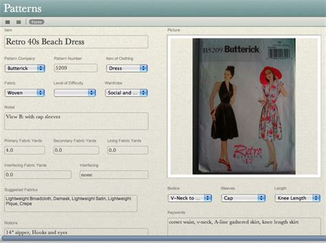sewing pattern organization software 16 best microsoft access tutorials images on pinterest