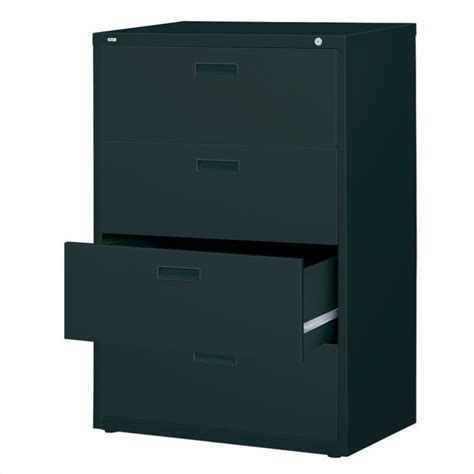 Black Lateral File Cabinet 4 Drawer Lateral File Cabinet In Black 14957