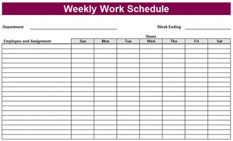 weekly schedule template for printable weekly schedule template excel planner