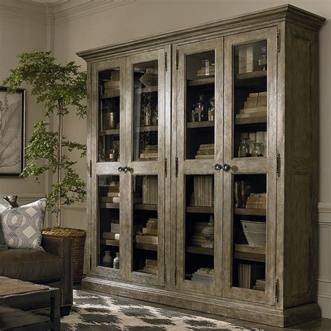 Compass Double Display Cabinet by Bassett   storage, media