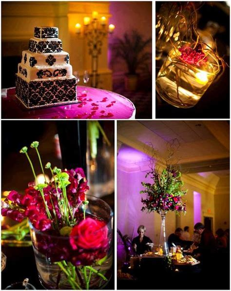 Chic black and white damask wedding cake; purple and green