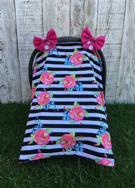 Handmade Car Seat Canopy - custom baby car seat canopy set roses carseat cover