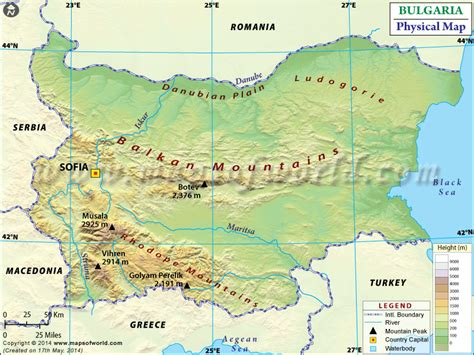 physical map  bulgaria