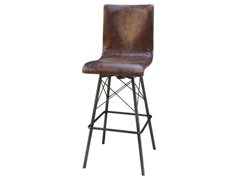 Jenna Swivel Leather Bar Stool   Mecox Gardens