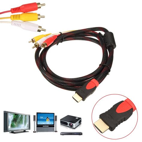 1 5m Hdmi Cable Black 1 5m 5ft hdmi to 3 rca audio av cable cord