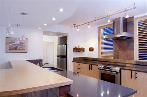 Kitchen track lighting ideas kitchen contemporary with bar ceiling