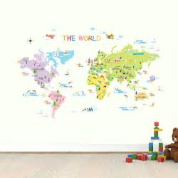 Map Of World Wall Sticker world map wall stickers kids wall decals wall transfers wall tattoos