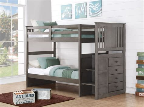 Grey Bunk Beds Gray Bunk Beds For Boys Or With Stairs And Storage Drawers Ebay