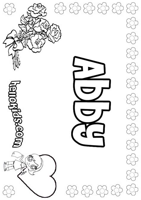 Girls Name Coloring Pages Abby Girly Name To Color Abby Coloring Pages