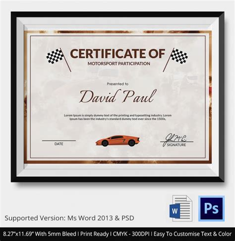 5 motosport certificates psd word designs design
