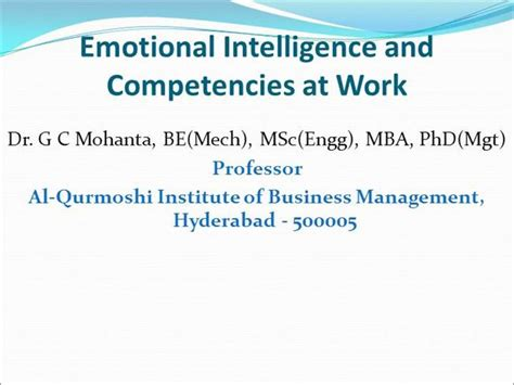 Mba Competencies by Emotional Intelligence And Competencies At Work Authorstream