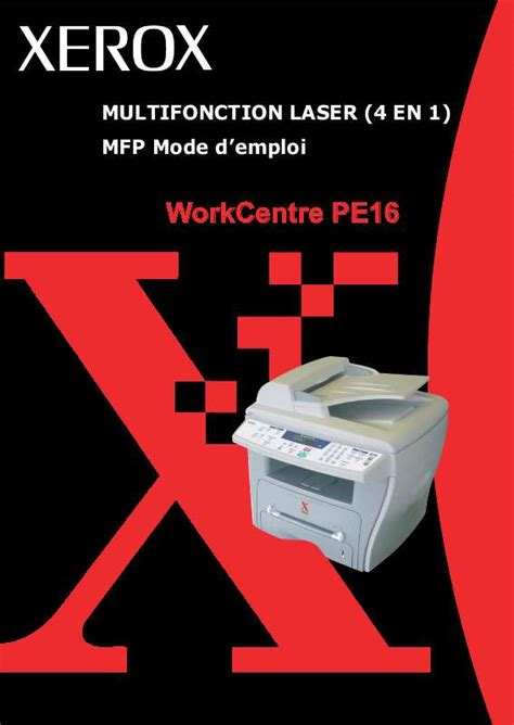 Xerox Cp235w Cover By M mode d emploi xerox workcentre pe16 imprimante