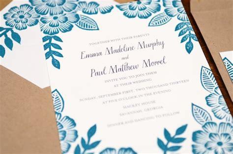 printed wedding invitations paul s floral block printed wedding invitations