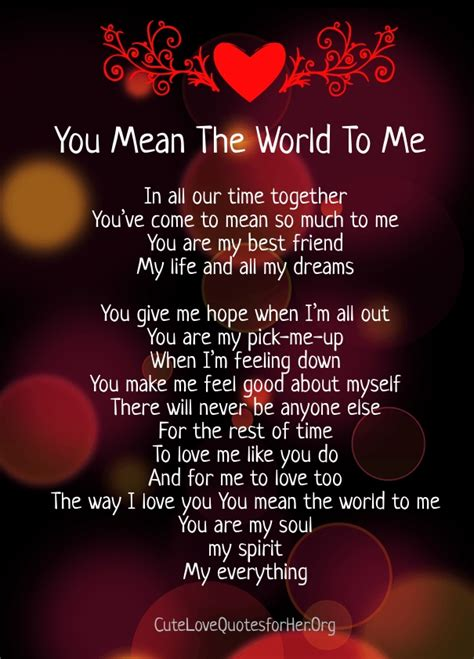 will u be my meaning you the world to me poems quotes for