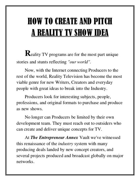 How To Create And Pitch A Reality Tv Show Idea Tv Show Pitch Template