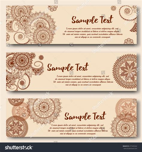 henna tattoo business set banners templates indian ornamental style stock vector
