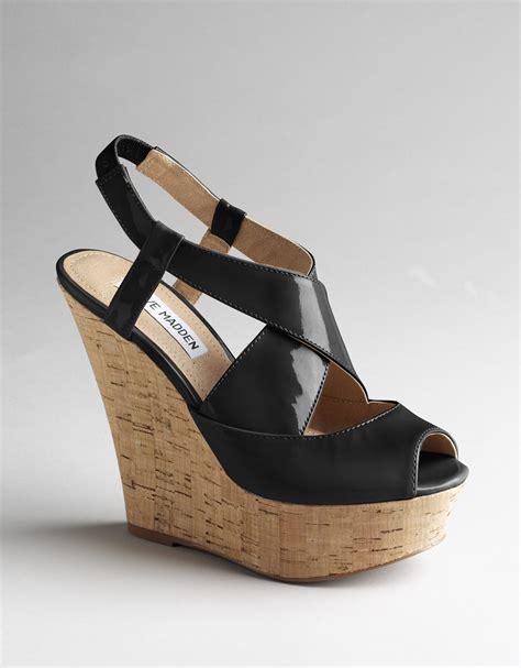 madden wedge sandals steve madden wheatley platform wedge sandals in black