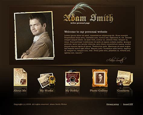 Writer Personal Flash Website Template Best Website Templates Personal Website Template Best Website Templates For Writers